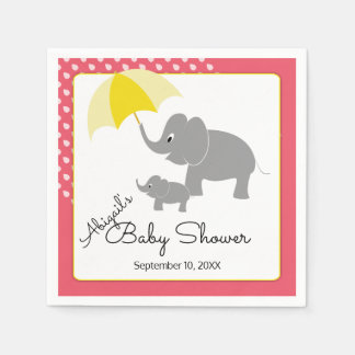 Elephant & Baby, Umbrella, Pink Baby Shower Paper Napkins
