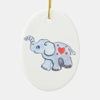 elephant baby with hearts ceramic oval ornament