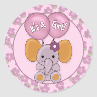 Elephant Balloons Baby Shower CJ-O Sticker Seal