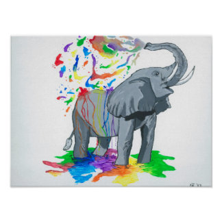 Elephant Bath TIme Poster