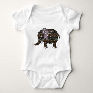 elephant batik graphic art baby bodysuit