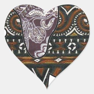 elephant batik graphic art heart sticker
