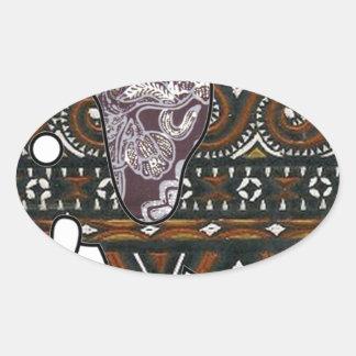 elephant batik graphic art oval sticker