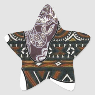 elephant batik graphic art star sticker