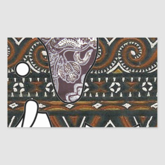 elephant batik graphic art rectangular stickers