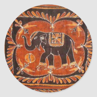 Elephant Batik Round Sticker