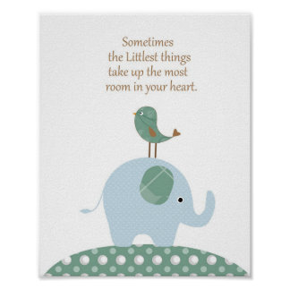 Elephant bird nursery art poster