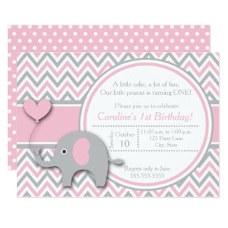 Elephant Birthday Invitation, Pink and Gray Card