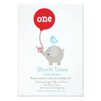 Elephant Birthday Invitation with Red Balloon