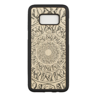Elephant Black Ink Drawing Illustration on Wood Carved Samsung Galaxy S8 Case