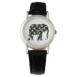 Elephant Black Stylish Silhouette Cool Pattern Watch