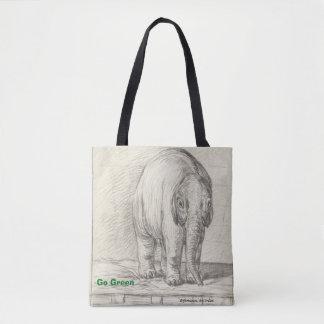 elephant, black & white,go green tote bag