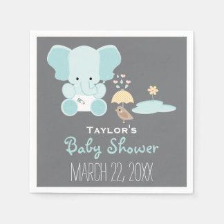 Éléphant bleu peu dans le baby shower d'oiseau de serviette en papier