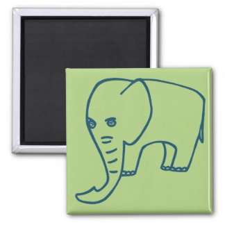 Elephant blue and olive magnet