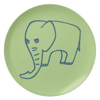 Elephant blue and olive party plate