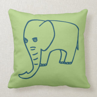 Elephant blue and olive throw pillow
