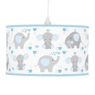 Elephant Blue Gray Safari Animals Nursery Baby Boy Pendant Lamp