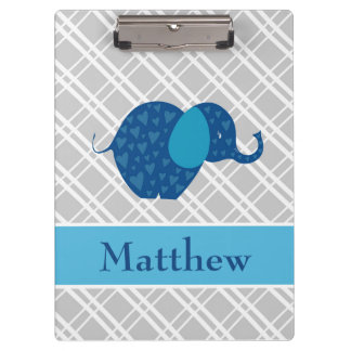 Elephant Blue Grey Diagonal Stripes Clipboard