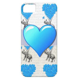Elephant & blue heart balloons iPhone 5 case