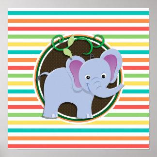 Elephant Bright Rainbow Stripes Poster