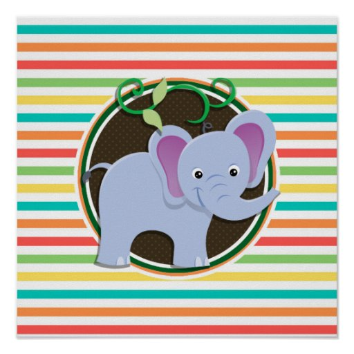 Elephant; Bright Rainbow Stripes Poster