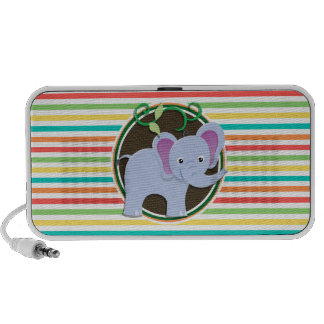 Elephant; Bright Rainbow Stripes Travelling Speaker
