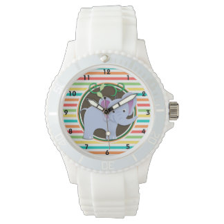 Elephant; Bright Rainbow Stripes Watch