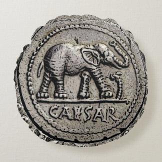 Elephant Caesar Roman Emperor Coin Round Pillow
