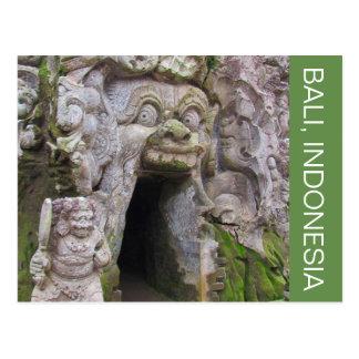 elephant cave bali postcard