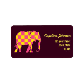 Elephant Checkered Pink Silhouette Stylish Bright Label