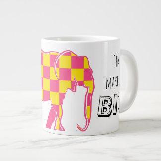 Elephant Checkered Pink Silhouette Stylish Bright Large Coffee Mug