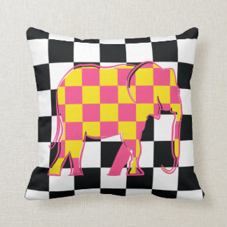 Elephant Checkered Pink Yellow Cool Silhouette Throw Pillow