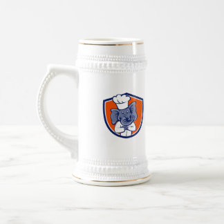 Elephant Chef Arms Crossed Crest Cartoon Beer Stein