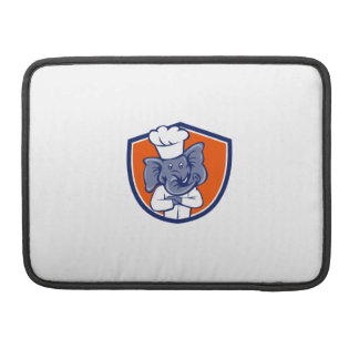 Elephant Chef Arms Crossed Crest Cartoon Sleeve For MacBooks