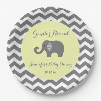 Elephant chevron baby shower plates: Gender Reveal Paper Plate