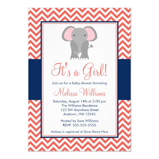 Elephant Chevron Coral Navy Blue Girl Baby Shower Card