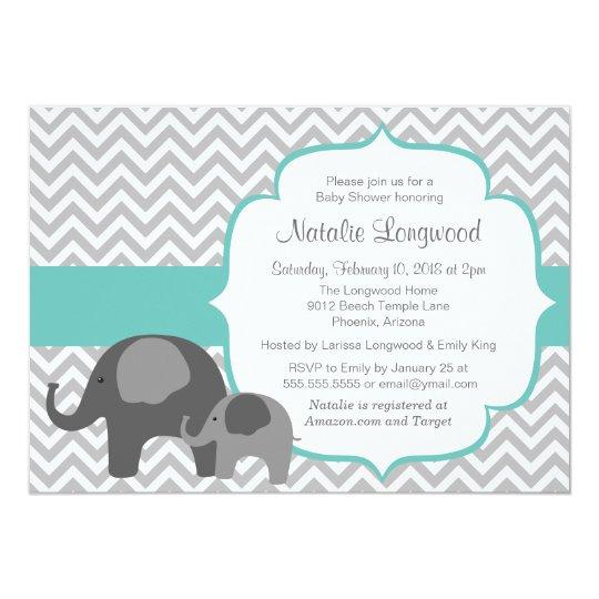 Elephant & Chevron Customizable Colour Baby Shower Card