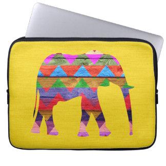 Elephant Chevron Pattern on Wood Laptop Sleeve