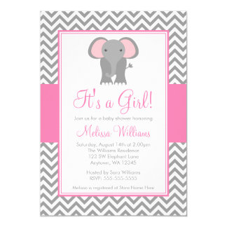 "Elephant Chevron Pink Gray Girl Baby Shower 5"" X 7"" Invitation Card"