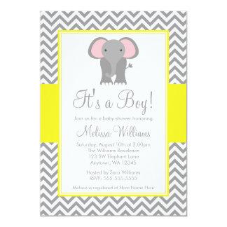 "Elephant Chevron Yellow Gray Baby Shower 5"" X 7"" Invitation Card"