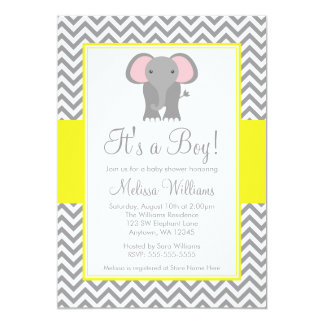 Elephant Chevron Yellow Gray Baby Shower Card