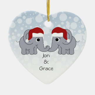 Elephant Christmas Ceramic Heart Ornament