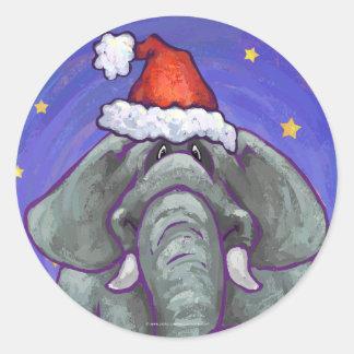 Elephant Christmas Classic Round Sticker