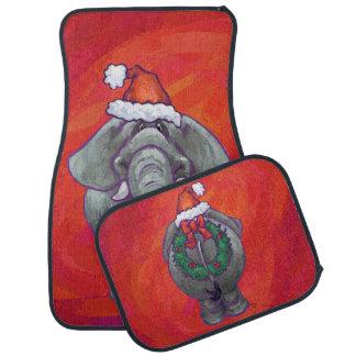Elephant Christmas On Red Car Mat