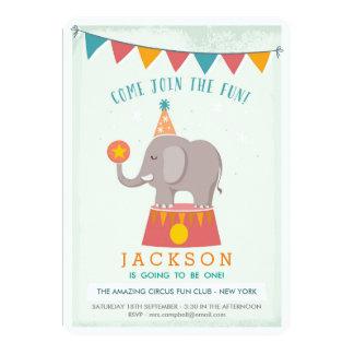 "Elephant Circus Birthday Party 5"" X 7"" Invitation Card"