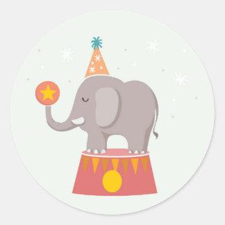 Elephant Circus Birthday Party Round Sticker