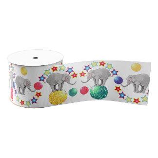 Elephant Circus Stars Pattern Grosgrain Ribbon