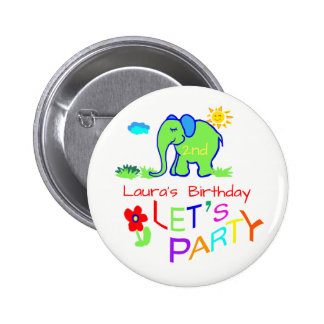 Elephant Colorful Cute Name & Age Birthday 2 Inch Round Button