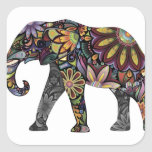 Elephant Colourful Square Sticker