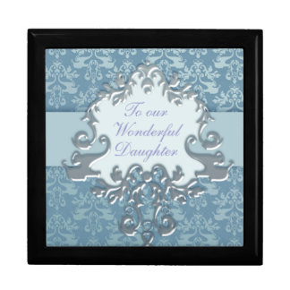 "Elephant damask ""daughter"" gift box silver/blue"